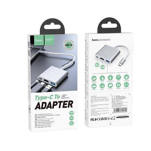 Adapter Type-C to Type-C, HDMI, USB3.0 Hoco HB14