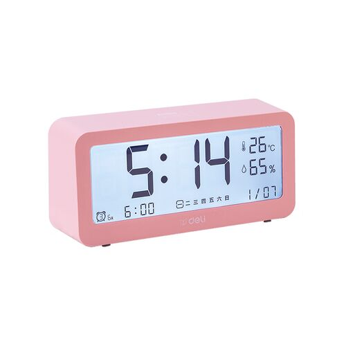 Đồng hồ báo thức tích hợp nhiệt ẩm kế điện tử DELI